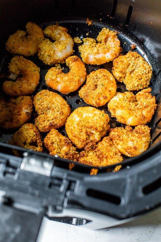 air fryer shrimp in basket