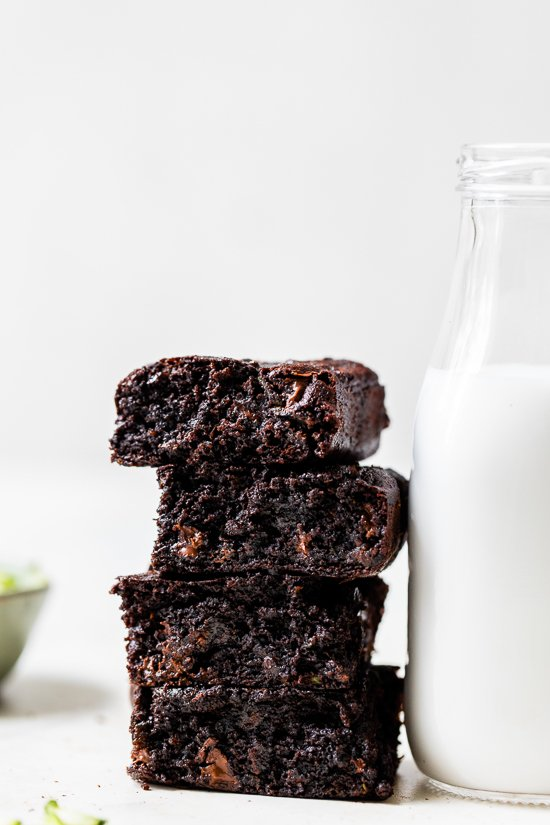 Flourless Zucchini Brownies with a bottle of milk