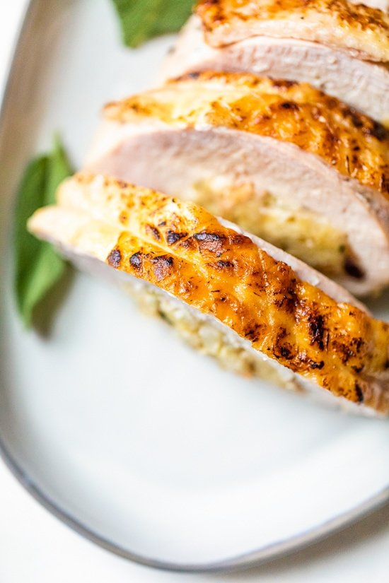 Stuffed Turkey Breast with Cranberry Stuffing up close