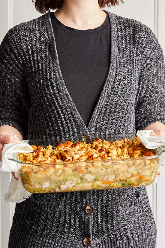 Turkey Pot Pie with Stuffing Crust is a fun twist on a turkey pot pie which is made with chopped turkey and veggies simmered in a creamy sauce finished with a stuffing topping.