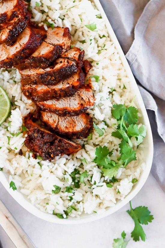 Grilled Pork Tenderloin with cilantro lime rice
