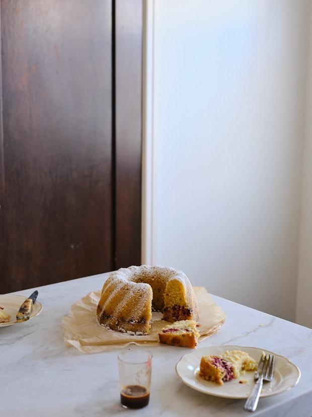Coconut Rum Cake in Kitchen